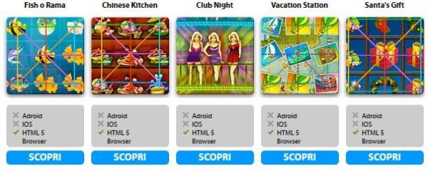 I giochi del casino mobile di Winga
