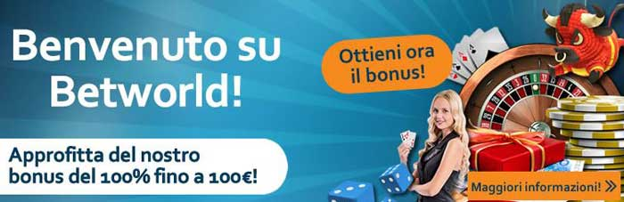 betworld bonus benvenuto casino 100 euro