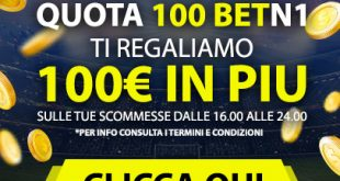 Quota 100 Betn1 per aumentare la tua vincita di 100 euro