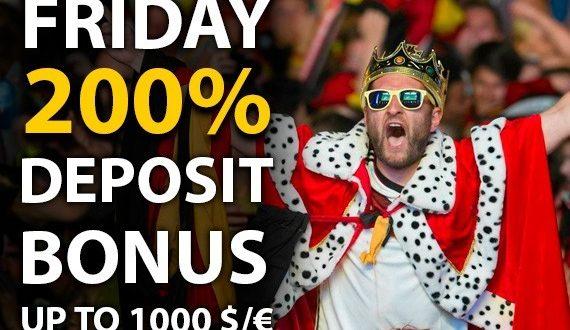 Bet2U offre un bonus ricarica del venerdì fino a 1.000 euro