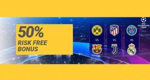 Scommessa 50% risk free sulla Champions League con ReloadBet