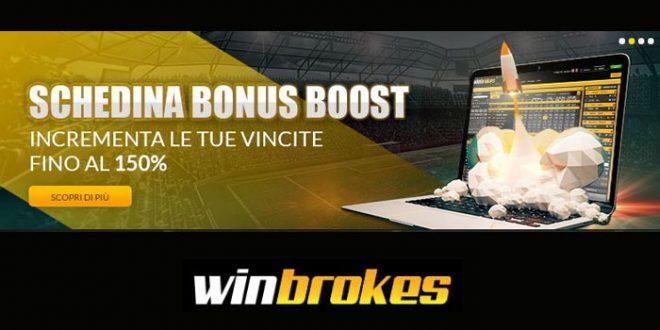 Winbrokes presenta il boost schedina fino al 150%