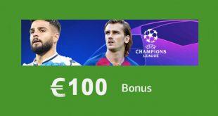 Bonus ottavi Champions: 100€ da LsBet