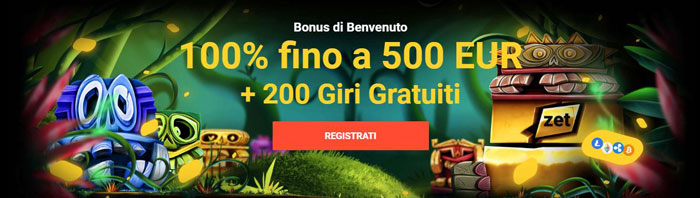 zet casino bonus benvenuto