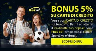 Betn1 offre 5% bonus sui depositi con carta di credito