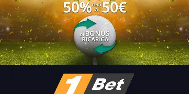 Nuovo bonus ricarica 1bet fino a 50 euro