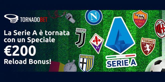 Tornadobet offre un bonus Serie A fino a 200€