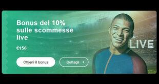 Bonus del 10% sulle scommesse live con Librabet